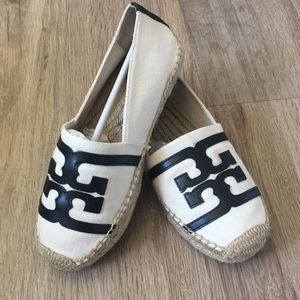 Tory Burch Leather Logo Espadrilles Slip on Shoe 6